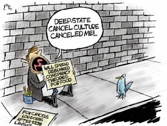 Political Cartoon U.S. fox news lou dobbs lawsuit