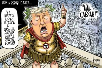 Political Cartoon U.S. Trump leave office Rome Caesar