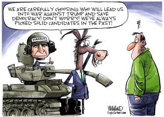 Political Cartoon U.S. Dukakis Trump tank Sanders