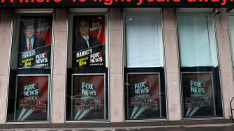 Outside the Fox News building in Manhattan.