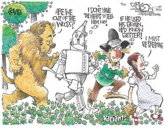 Editorial Cartoon U.S. covid vaccines variants wizard of oz
