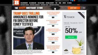 Screenshot of Breitbart website.