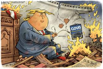 Political Cartoon U.S. Trump destruction Goya