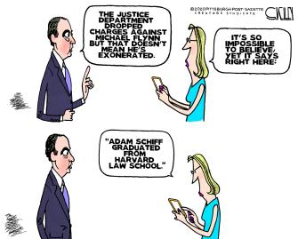 Political Cartoon U.S. adam schiff harvard michael flynn exoneration