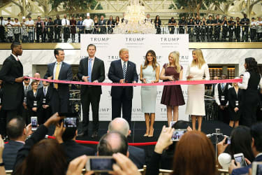 The Trump family at the ribbon cutting for Donald Trump's new hotel in Washington, D.C.
