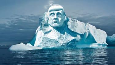 Trump's face carved into a glacier.