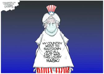 Editorial Cartoon U.S. Uncle Sam coronavirus mask