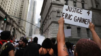 Protest on anniversary of Eric Garner's death.