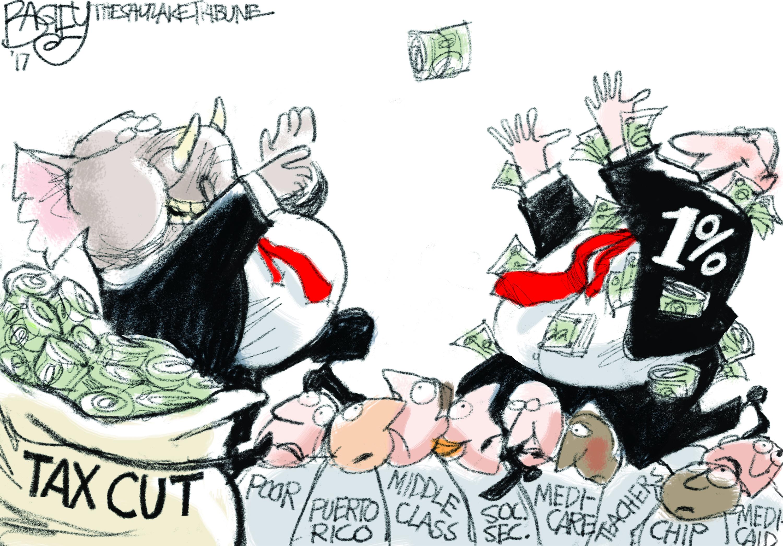 Political cartoon U.S. GOP tax cuts wealthy | The Week