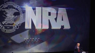 Donald Trump talks to NRA members in 2016.