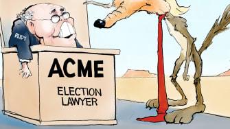 Political Cartoon U.S. Trump Giuliani Road Runner Wile E Coyote