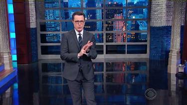 Stephen Colbert golf-claps for President Trump