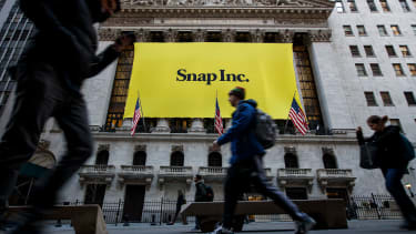 A Snap Inc. sign hangs outside of the NYSE