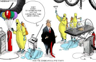 Political Cartoon U.S. Trump Coronavirus health risk zombie apocalypse