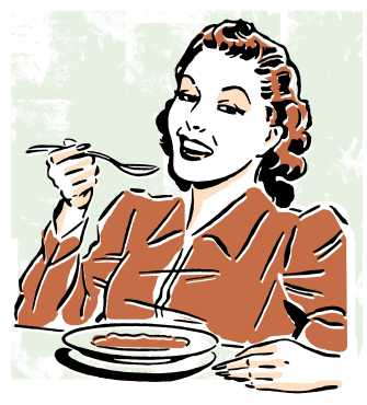 A woman eating soup