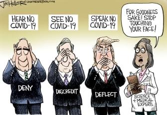 Political Cartoon U.S. Trump GOP Coronavirus denial face touching health experts