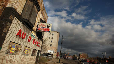 Shuttered businesses in downtown Detroit.