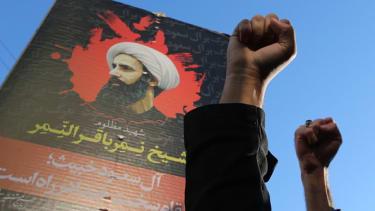 Protesters in Iran denounce the execution of Sheik Nimr al-Nimr in Saudi Arabia.