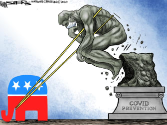 Political Cartoon U.S. Trump GOP coronavirus response