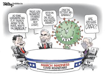 Political Cartoon U.S. covid fauci desantis atlas