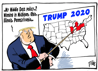 Political Cartoon U.S. Trump Iran strategy 2020
