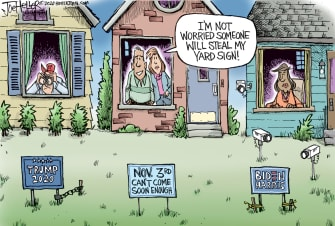 Editorial Cartoon U.S. Trump Biden 2020 yard signs