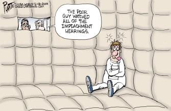 Political Cartoon U.S. Impeachment Viewing Insanity