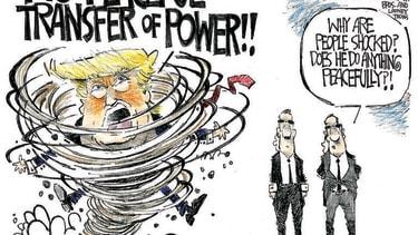 Political Cartoon U.S. Trump transfer of power 2020