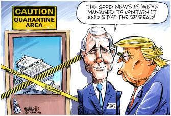 Political Cartoon U.S. Trump Pence coronavirus not spreading facts news misinformation