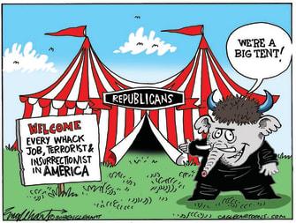 Political Cartoon U.S. gop trump big tent