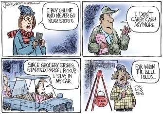 Editorial Cartoon U.S. Cashless Society Holiday Cash Donations
