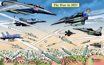 Editorial Cartoon World COVID vaccine war