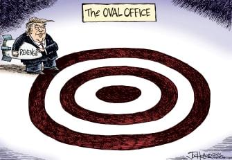 Political Cartoon U.S. Trump Oval Office White House justice revenge target enemies