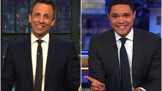 Trevor Noah and Seth Meyers laugh at Julian Assange and his cat