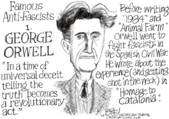 Editorial Cartoon World George Orwell anti fascists