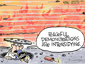 Editorial Cartoon U.S. Portland Seattle demonstrations