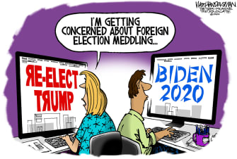 Political Cartoon U.S. Foreign Election Interference 2020 Russia China Trump Biden