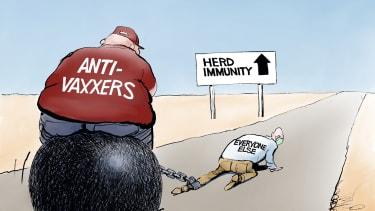 Editorial Cartoon U.S. anti vaxxers covid vaccines