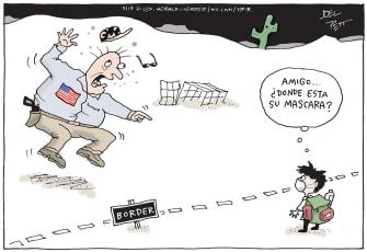 Political Cartoon U.S. mexico border children