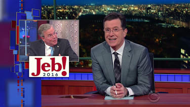 Stephen Colbert tries out new punctuation marks for Jeb! Bush