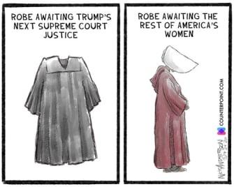 Editorial Cartoon U.S. Ginsburg robe Handmaids Tale