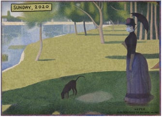 Editorial Cartoon U.S. Sunday in the Park mask quarantine stay at home