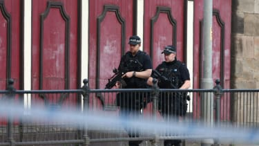 Armed police patrol Manchester.