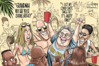 Editorial Cartoon U.S. spring break covid vaccine