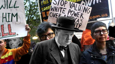 Protesters and historical figures.