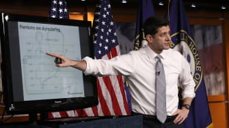 Paul Ryan uses a PowerPoint to discuss health care.