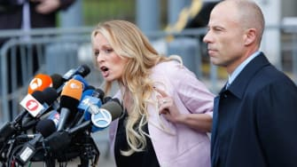 Stormy Daniels and lawyer.