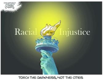 Editorial Cartoon U.S. statue of liberty George Floyd protests
