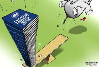 Political Cartoon U.S. biden executive orders gop