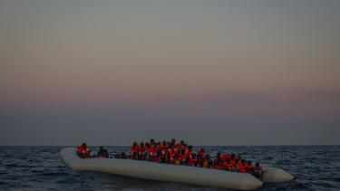 Migrants in a boat off of Libya.